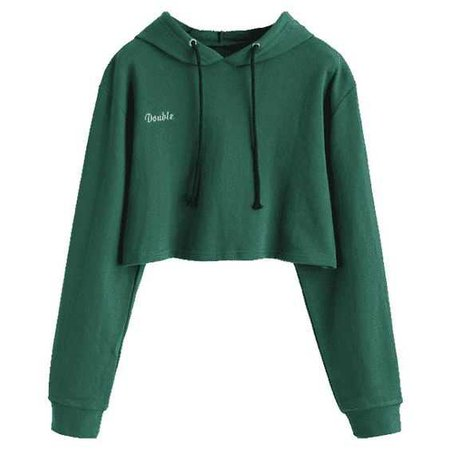 06777d02 Letter Patched Drawstring Crop Hoodie Green S ($23) ❤ liked on Polyvore  featuring tops