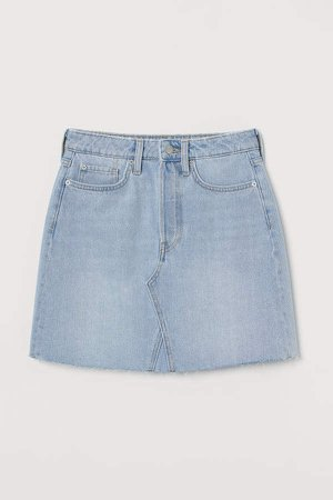 91b4ef1f6c shein Dual Pocket Raw Hem Denim Skirt | ShopLook