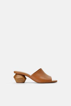 Sandalias Tacón Zapatos Zara Mule Madera Geométrico Piel 29ebWHDEYI