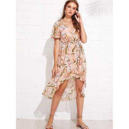 1f704a8b18 Sundresses | Shop Women's Pink V-Neck Short Sleeve Floral Print Beach Dress  at Fashiontage
