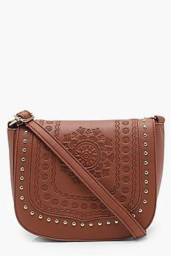 ad84a29eb98 Hannah Boho Stud And Embossed Saddle Bag