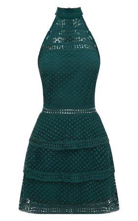 29ccb565e9 Emerald Green Bandage Frill Hem Bodycon Dress | PrettyLittleThing ...