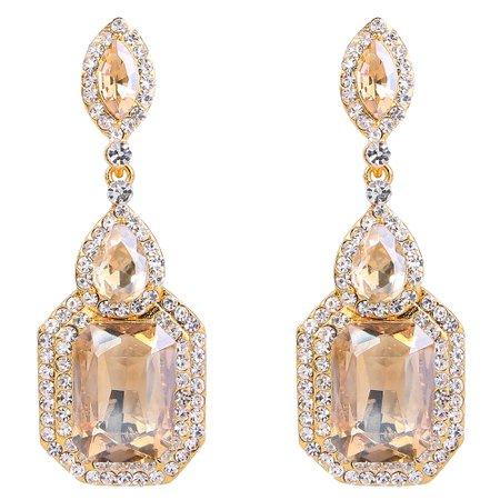8a9e7c68e BriLove Wedding Bridal Dangle Earrings for Women Emerald Cut Crystal  Infinity Figure 8 Chandelier Earrings Champagne
