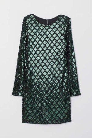 9d573c08 shein Green Iridescent Long Sleeve Sequin Bodycon Dress   ShopLook