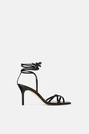 Zara Zapatos Madera Geométrico Piel Tacón Sandalias Mule HIeWDYE29