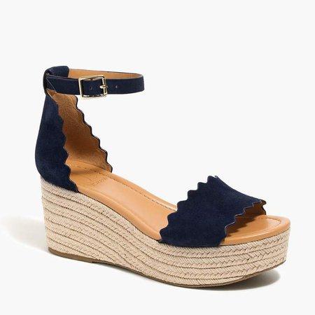 2149d0dfdb1 castañer Ana scalloped suede espadrille platform sandals | ShopLook
