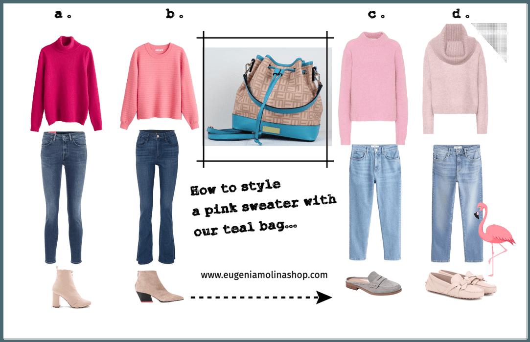 Cómo Combinar un Sweater Color Rosa   con una Cartera Turquesa de Eugenia Molina...
