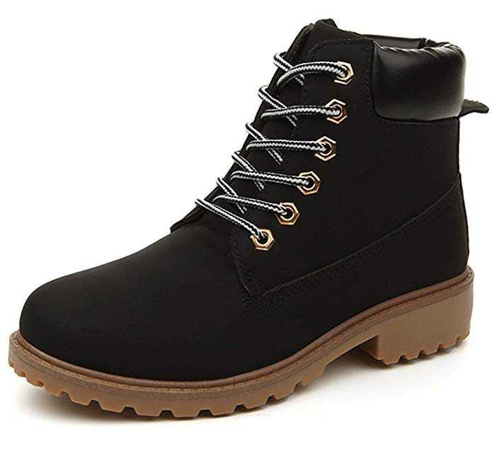 0a4b03a80cfa4 Amazon.com | DADAWEN Women's Lace up Low Heel Work Combat Boots ...