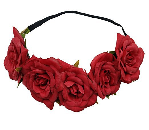 Amazon.com   Sanrich Fake Flower Crowns Headbands For Women Girl Rose Floral  Head Piece 84f85c0bf04
