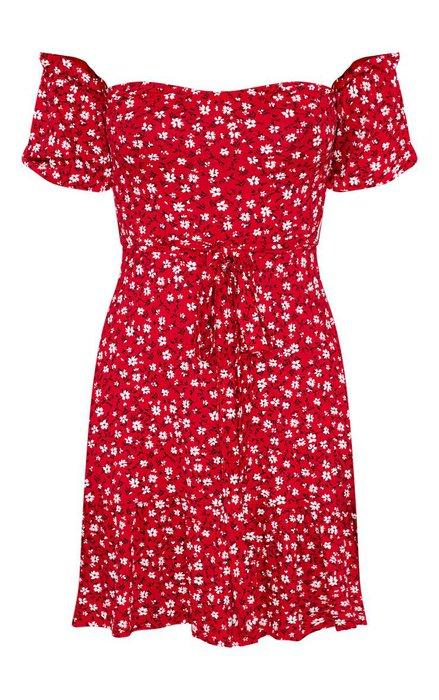 e00c7dce5 Bardot Red Ditsy Print Bardot Frill Hem Skater Dress | PrettyLittleThing |  ShopLook