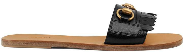 98300cb84d8 gucci Varadero Horsebit-detailed Fringed Leather Slides - White ...