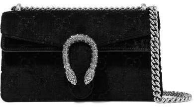 9c2fa0be9940eb Dionysus Small Embossed Velvet And Textured-leather Shoulder Bag - Black