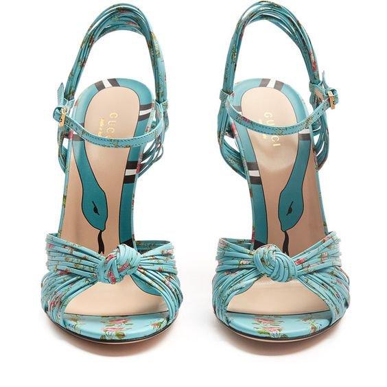 a8c72587b Gucci Allie floral-print leather sandals