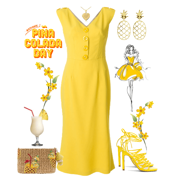 Pina Colada Dress in All Yellow