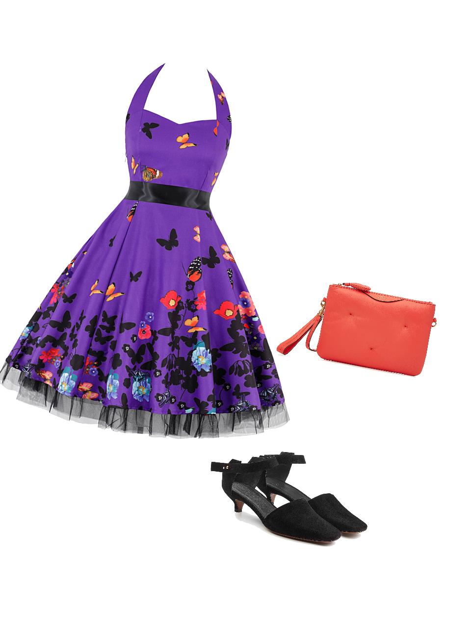 Purple, black, and orange