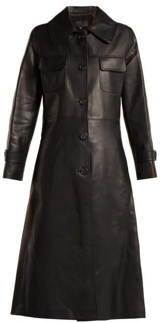 Point Collar Leather Trench Coat - Womens - Black