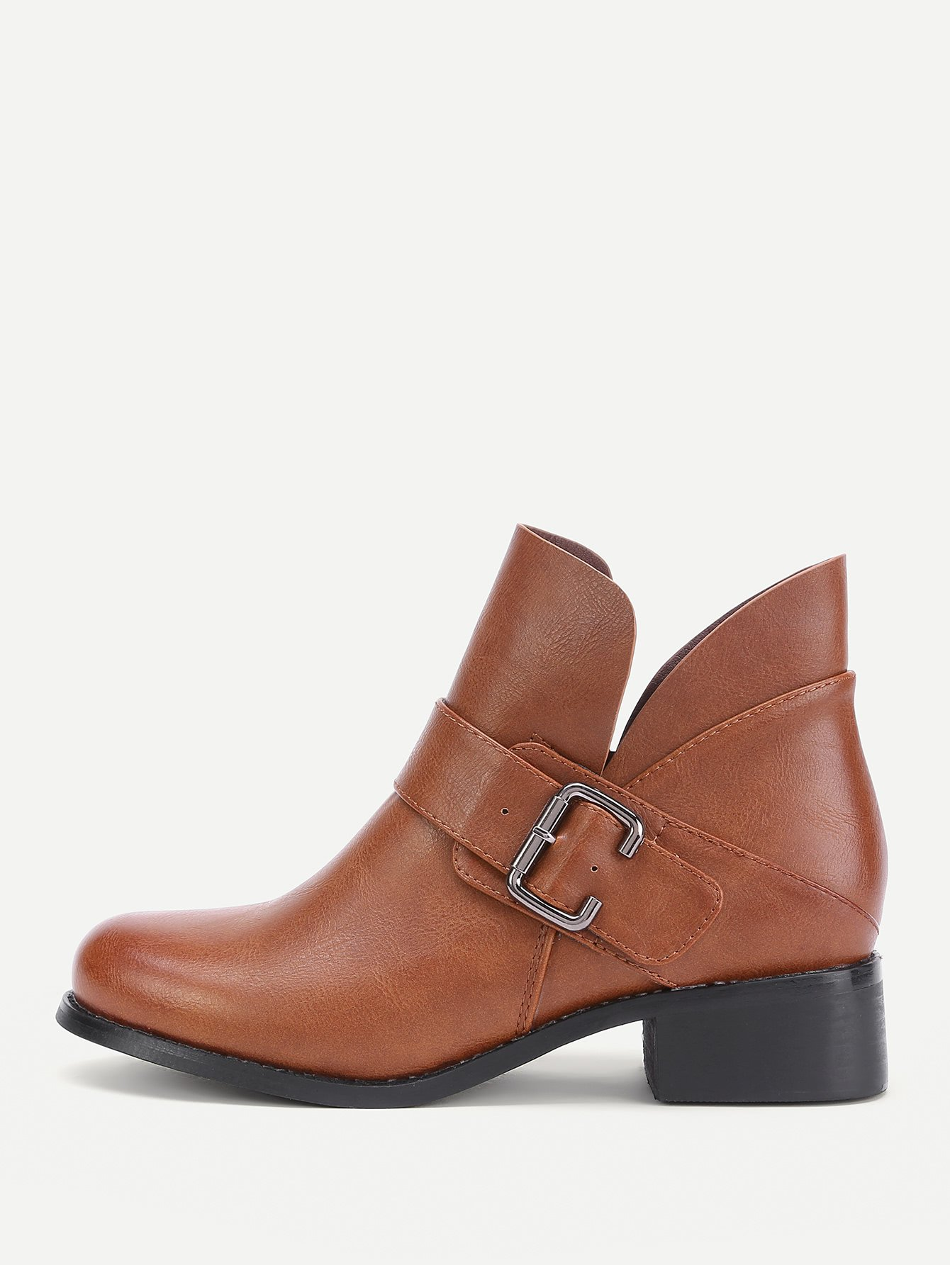 Side Buckle Decorated PU Ankle Boots