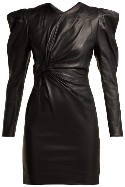 Cobe Knotted Leather Mini Dress - Womens - Black