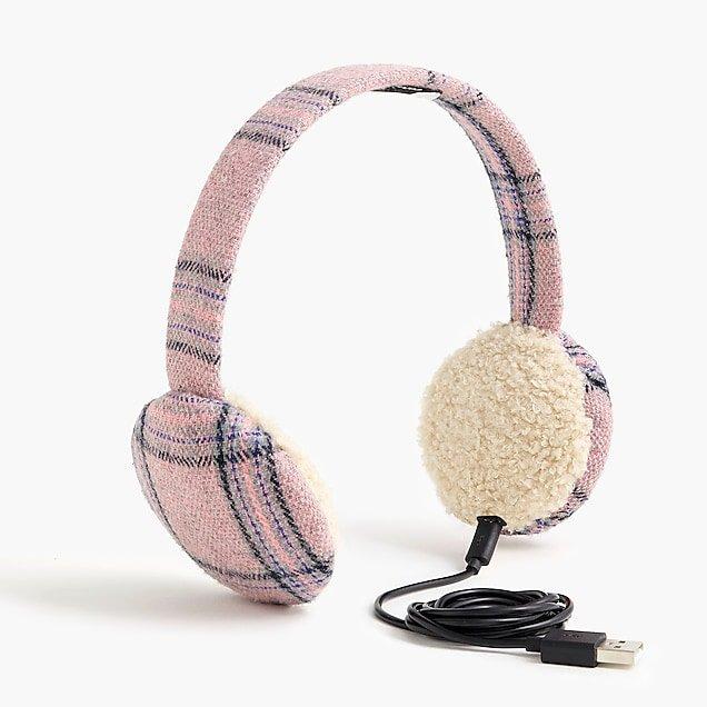 Bluetooth earmuffs in pink plaid - Women's Accessories | J.Crew