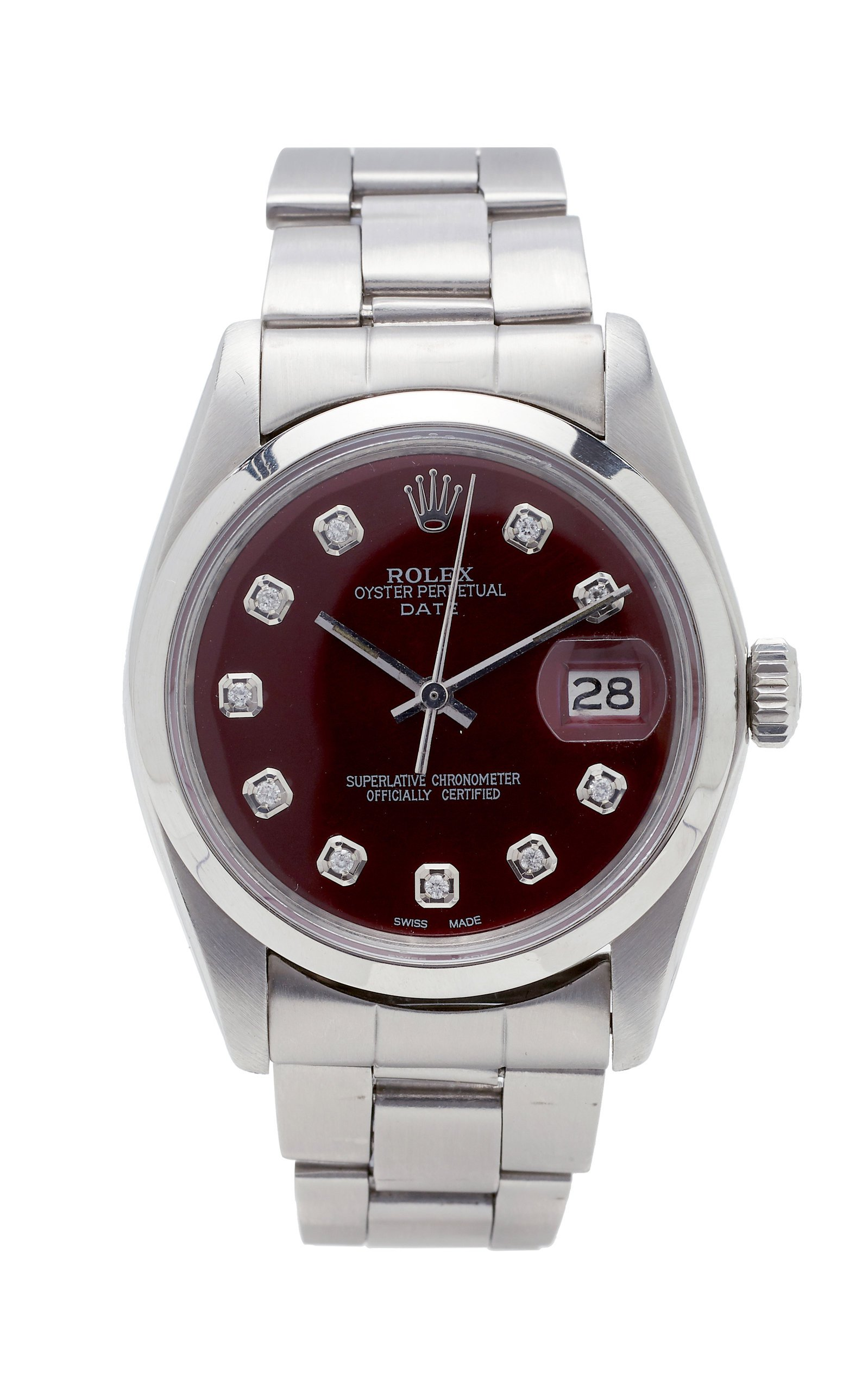 Vintage Watches Rolex Date 34mm Cherry Cola Pearlized Diamond Dial