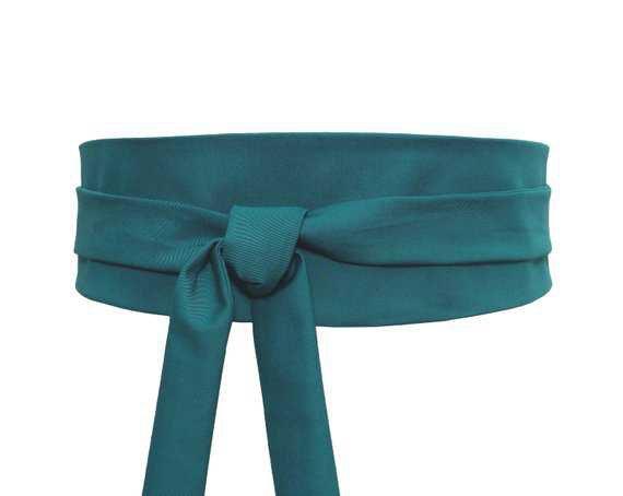 Blue green Obi Waist Belt Sash Wide wrap Cotton fabric
