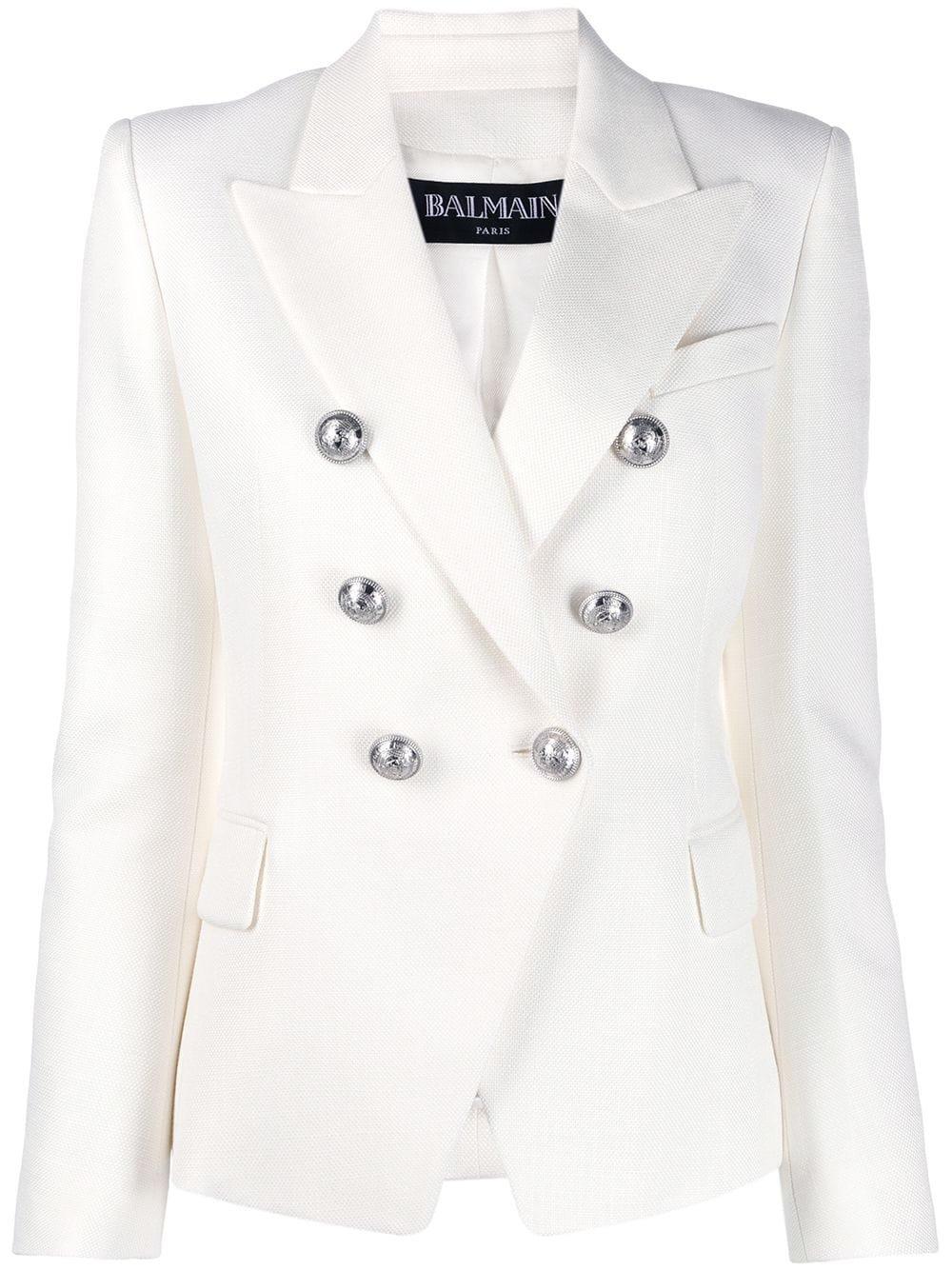 White Balmain Double-breasted Blazer   Farfetch.com