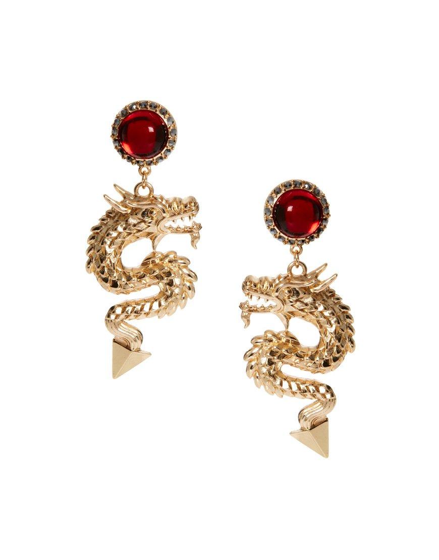 Red Ruby Dragon Earrings