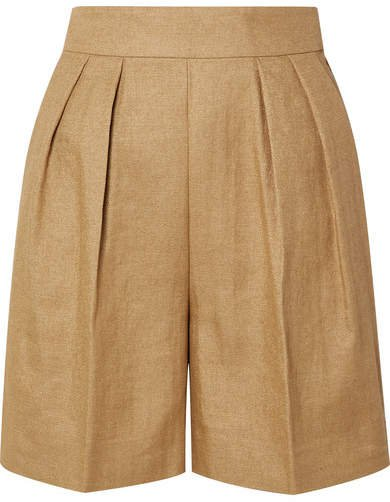 Pleated Woven Shorts - Beige