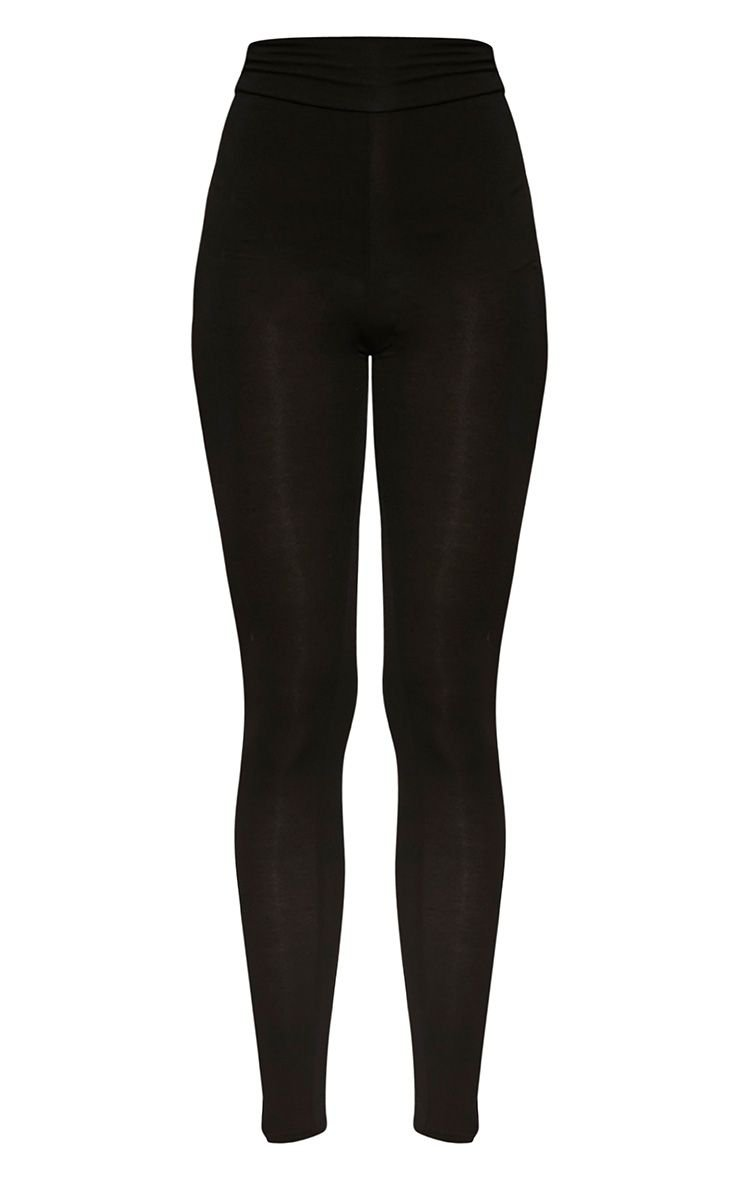 Dabria Black High Waisted Jersey Leggings   PrettyLittleThing