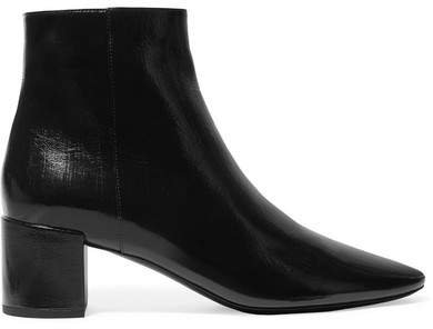 Lou Crinkled Glossed-leather Ankle Boots - Black