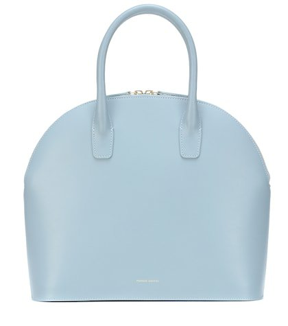 Rounded leather top-handle bag