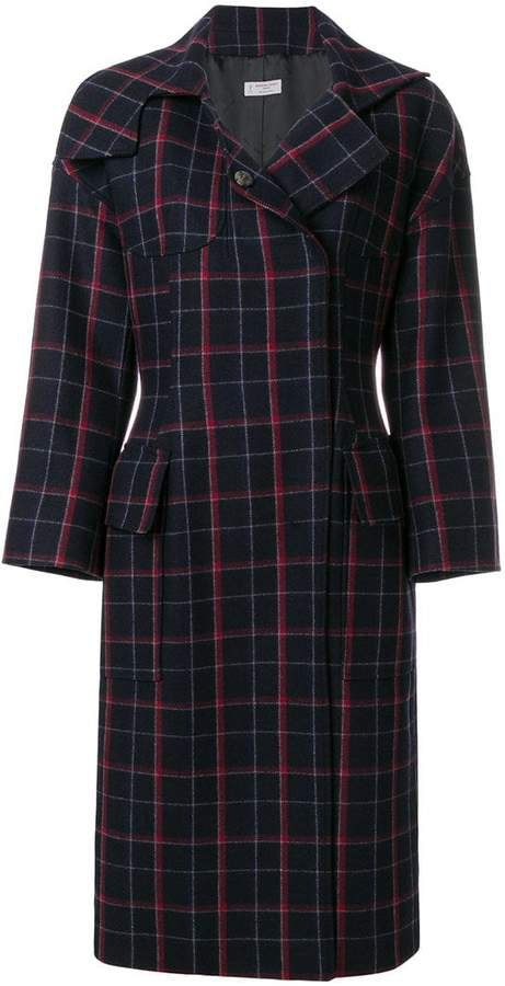 plaid concealed button coat