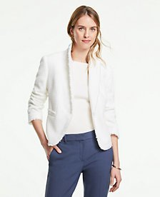 The Petite Newbury Blazer in Fringe Tweed | Ann Taylor