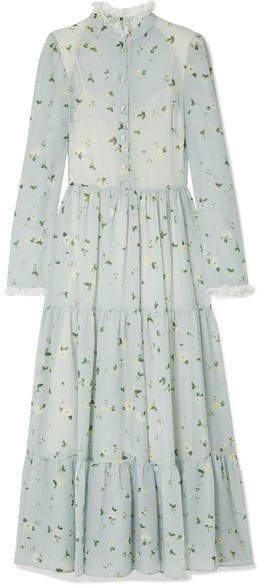 Lace-trimmed Floral-print Chiffon Midi Dress - Sky blue