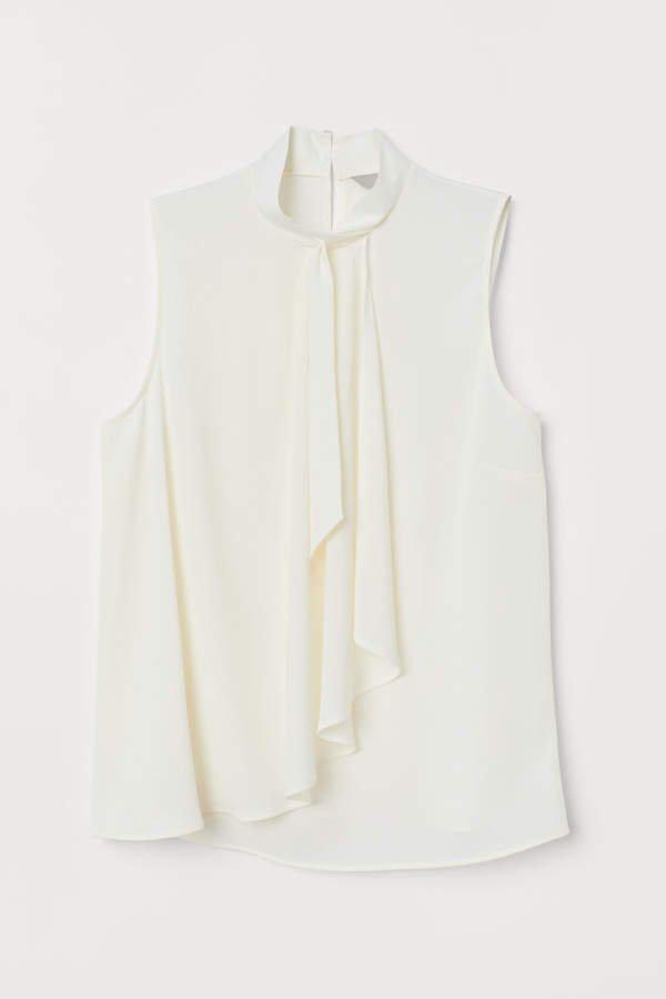 Sleeveless Wrapover Blouse - White