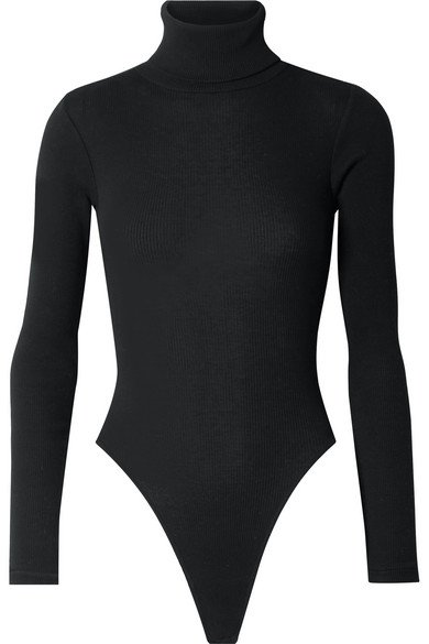 RE/DONE | Ribbed stretch-cotton jersey turtleneck thong bodysuit | NET-A-PORTER.COM