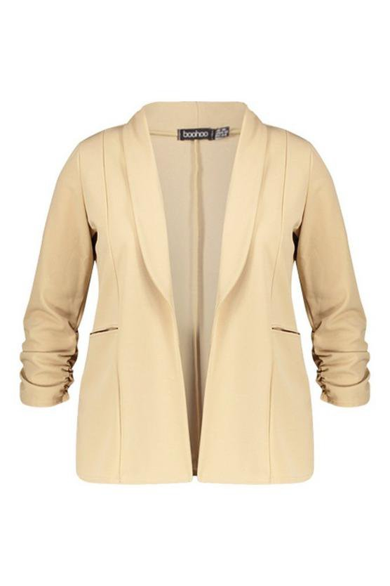 Plus Lapel Detail Ruched Sleeve Blazer | Boohoo