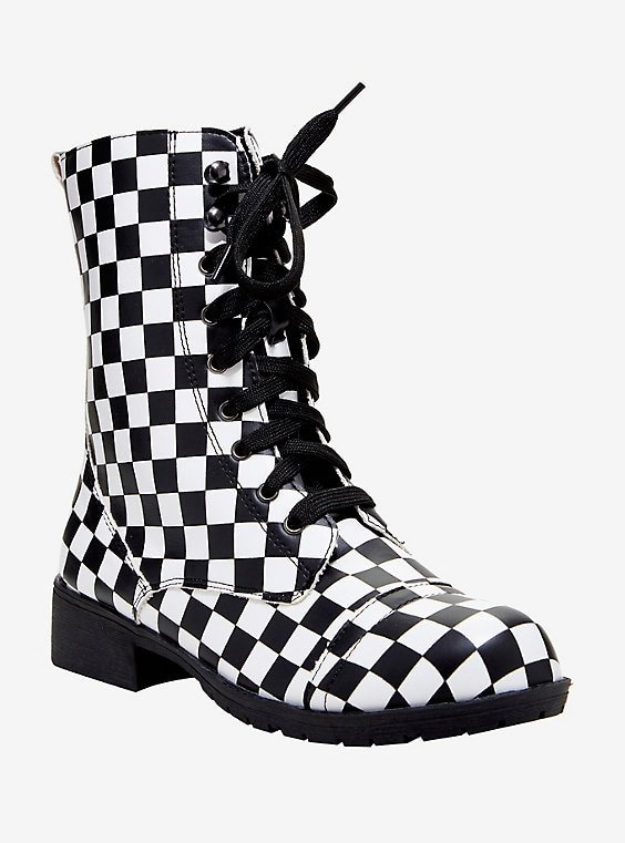 Black & White Checkered Combat Boots