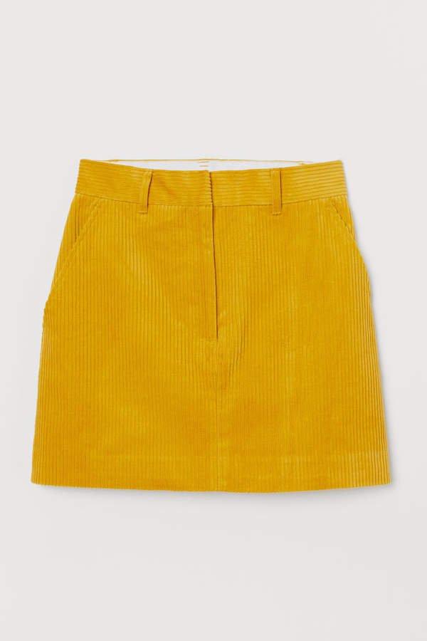 Cotton Corduroy Skirt - Yellow
