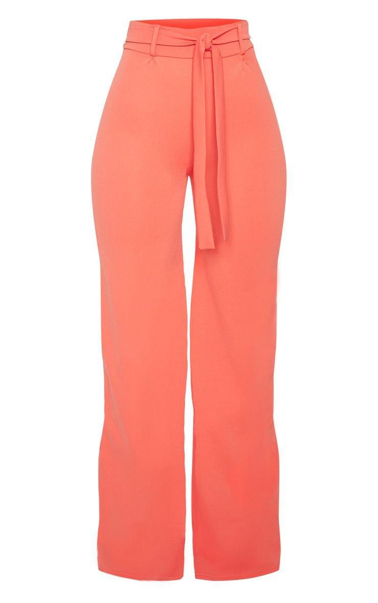 Coral Tie Waist Wide Leg pants | pants | PrettyLittleThing USA