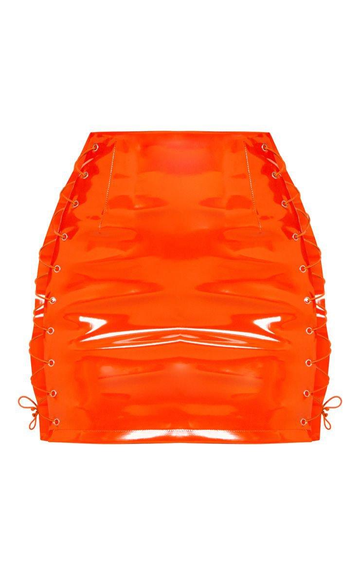 Neon Orange Vinyl Lace Up Mini Skirt | PrettyLittleThing
