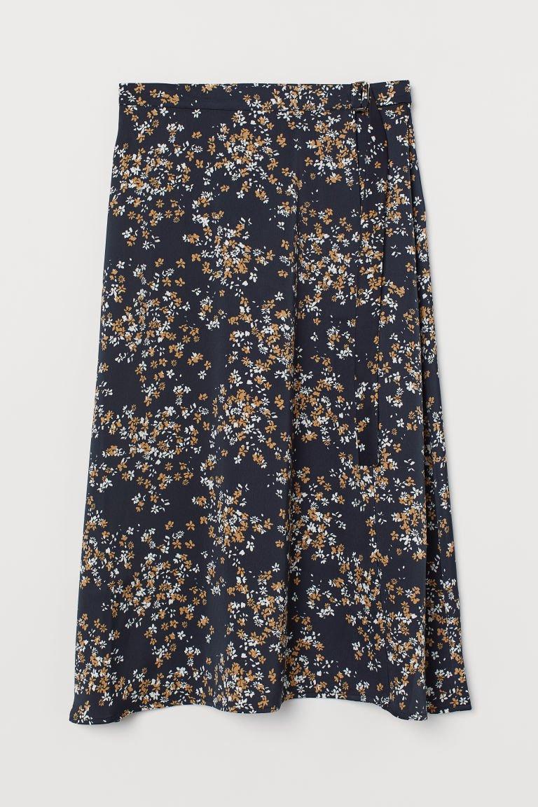 Wrap-front Skirt - Dark blue/floral - Ladies | H&M US