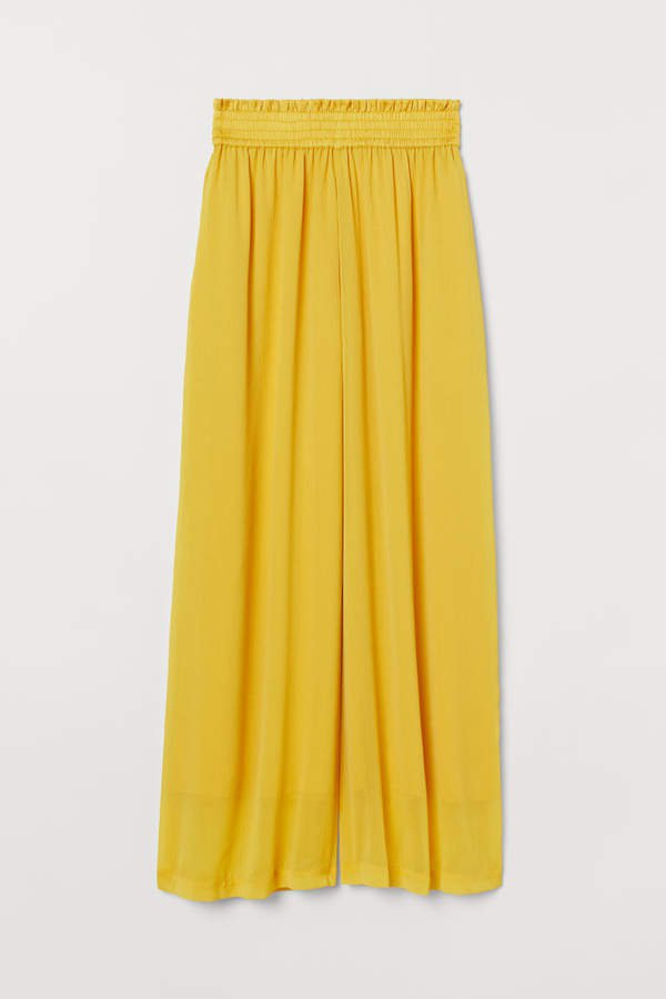 Wide-cut Pull-on Pants - Yellow