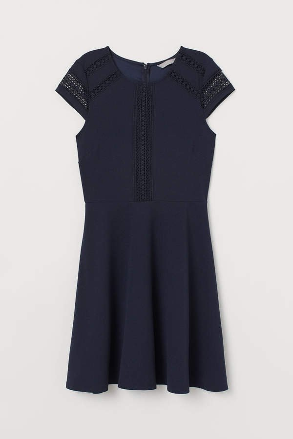 Dress with Lace Inserts - Blue