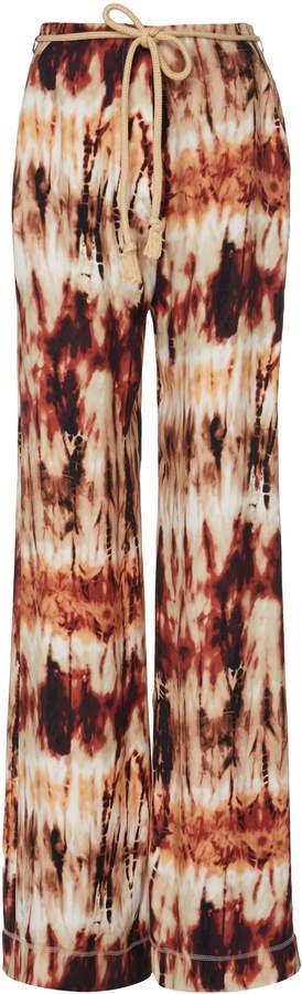 Giada Tie-Detailed Jersey Wide-Leg Pants