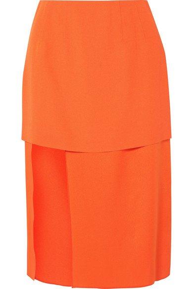 Mugler | Asymmetric layered crepe and satin skirt | NET-A-PORTER.COM
