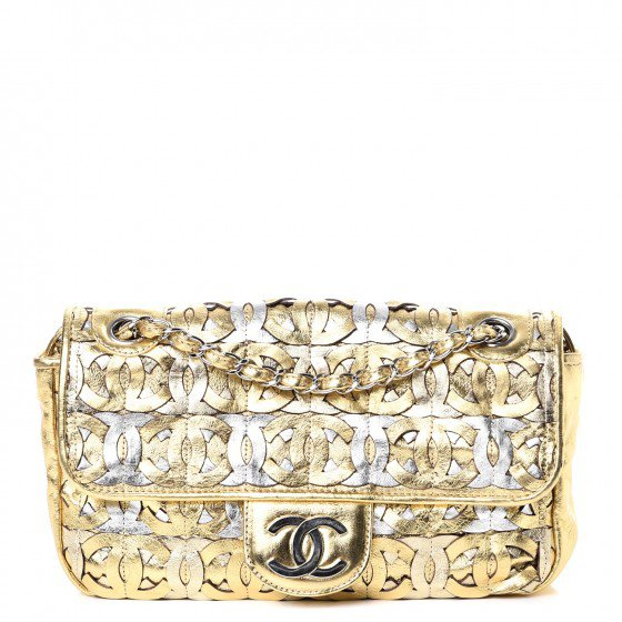 Chanel silver and gold bag