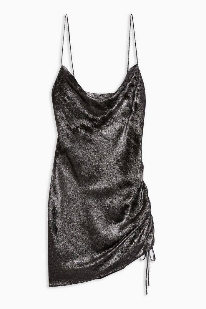 Metallic Ruched Slip Dress | Topshop
