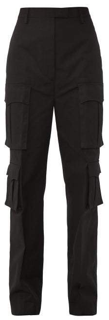 Mid Rise Cotton Poplin Cargo Trousers - Womens - Black