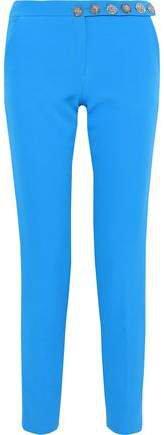 Button-detailed Crepe Slim-leg Pants